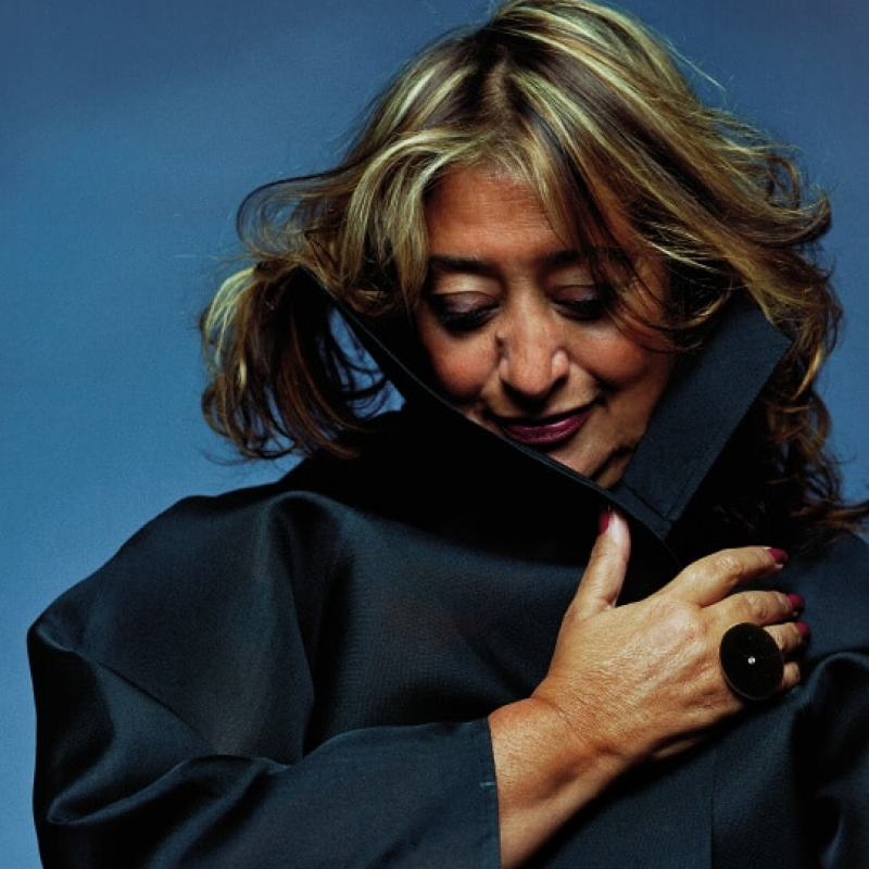 Portrait of Zaha Hadid in a black coat